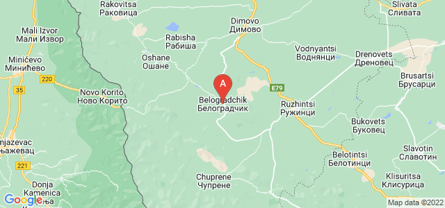 map of Belogradchik, Bulgaria