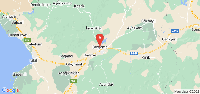 map of Bergama, Turkey