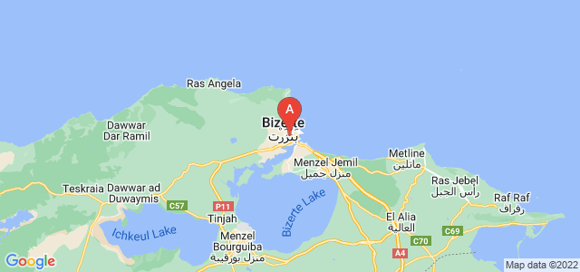 map of Bizerte, Tunisia