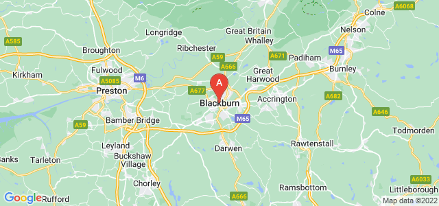 map of Blackburn, United Kingdom