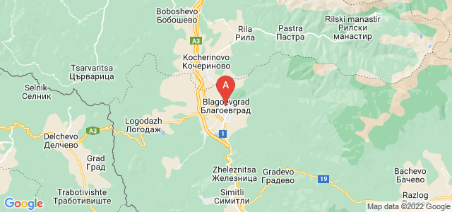 map of Blagoevgrad, Bulgaria