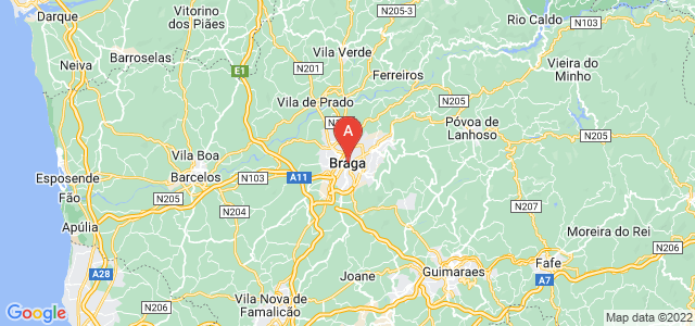 map of Braga, Portugal