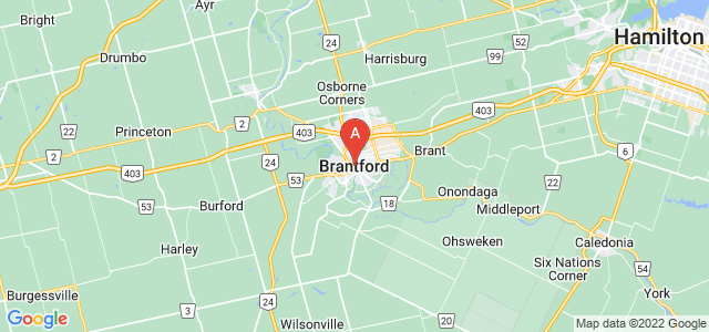 map of Brantford, Canada