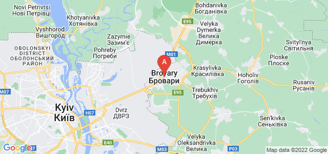 map of Brovary, Ukraine