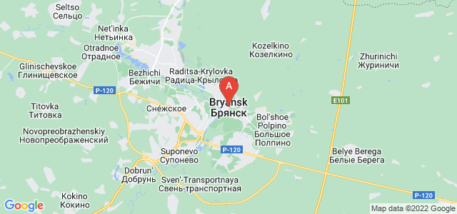 map of Bryansk, Russia