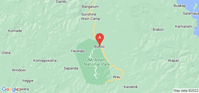 map of Bulolo, Papua New Guinea