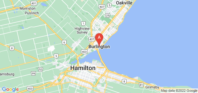 map of Burlington, Canada