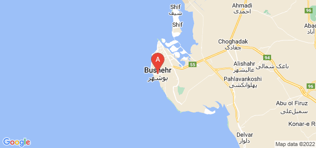 map of Bushehr, Iran