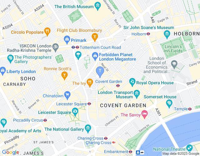 Location map for Cambridge Theatre