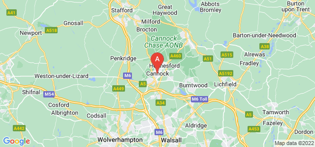 map of Cannock, United Kingdom