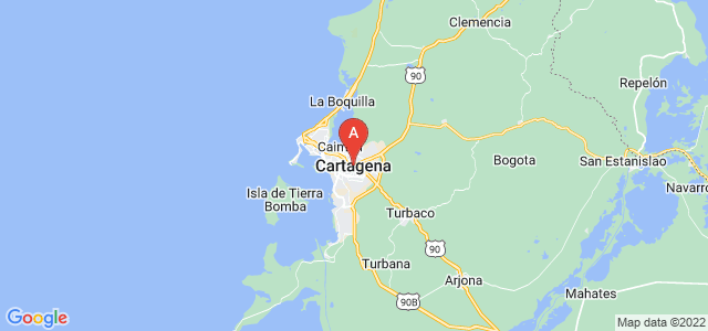 map of Cartagena, Colombia