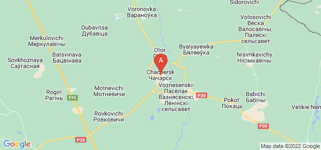 map of Chachersk, Belarus