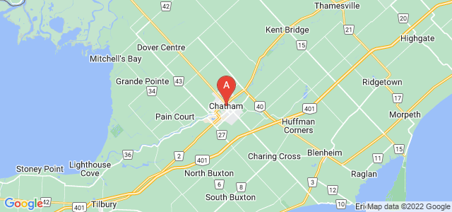 map of Chatham-Kent, Canada