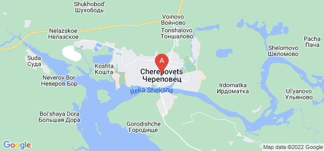 map of Cherepovets, Russia