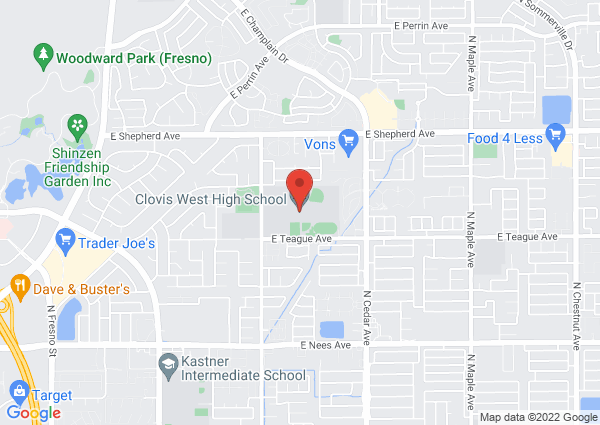 Map of Clovis West High School, East Teague Avenue, Fresno, CA, United States