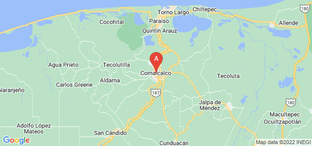 map of Comalcalco, Mexico
