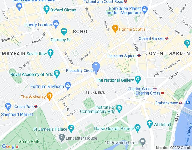 Location map for Criterion Theatre