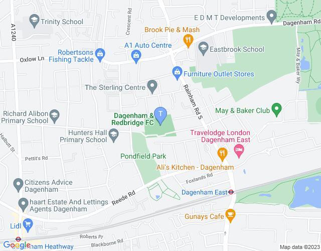 Location map for Dagenham and Redbridge FC
