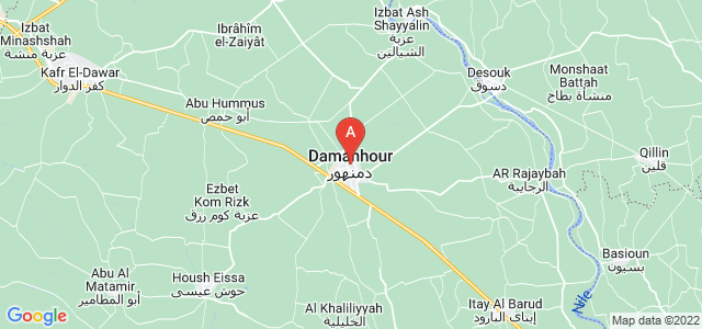 map of Damanhur, Egypt