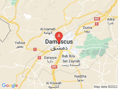 map of Damascus, Syria
