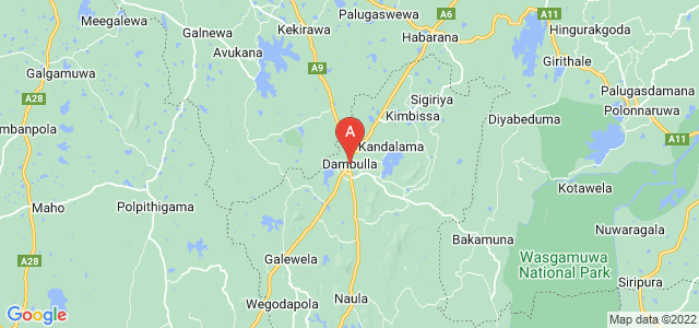 map of Dambulla, Sri Lanka