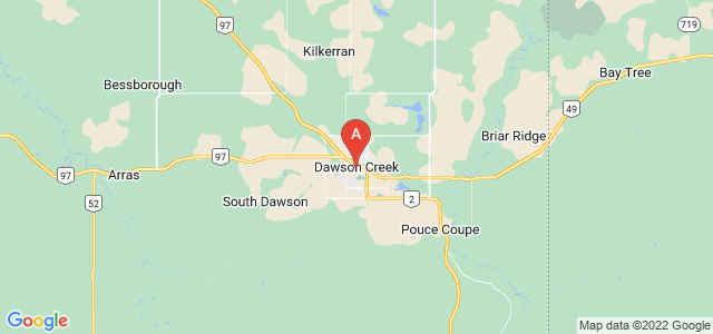 map of Dawson Creek, Canada