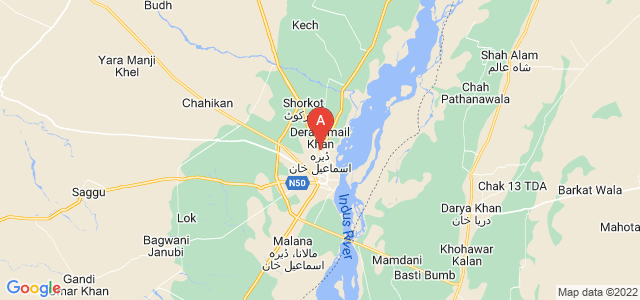 map of Dera Ismail Khan, Pakistan
