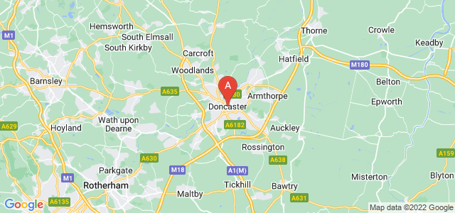 map of Doncaster, United Kingdom