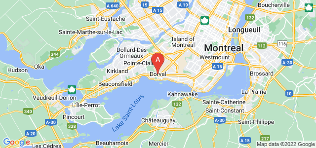 map of Dorval, Canada