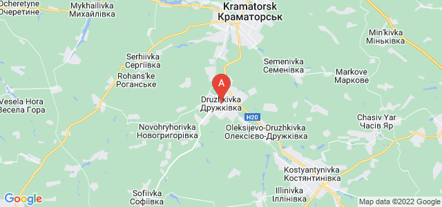 map of Druzhkivka, Ukraine