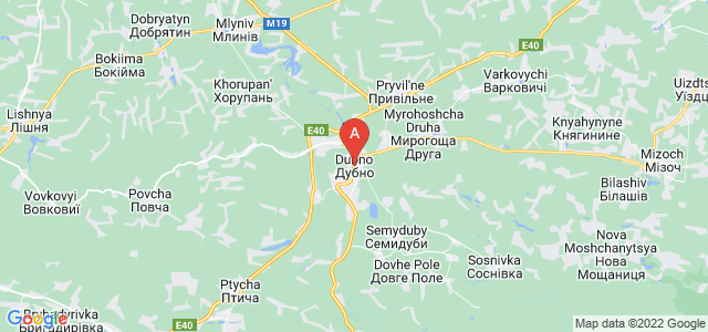 map of Dubno, Ukraine