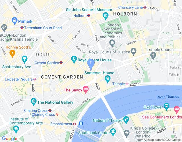 Location map for Duchess Theatre