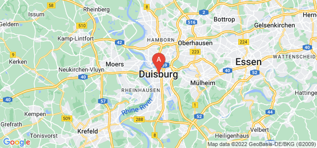 map of Duisburg, Germany
