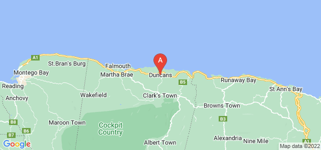 map of Duncans, Jamaica