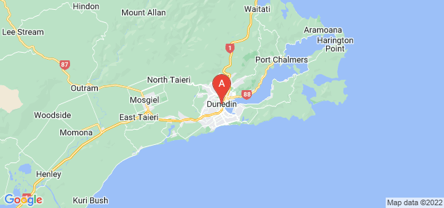 map of Dunedin, New Zealand