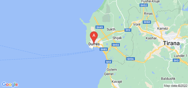 map of Durrës, Albania