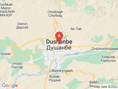 map of Dushanbe, Tajikistan