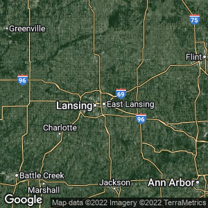 Static Map of East Lansing, Michigan
