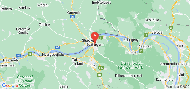 map of Esztergom, Hungary