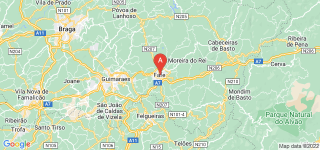 map of Fafe, Portugal
