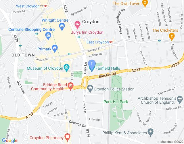 Location map for Fairfield Halls
