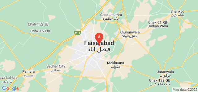map of Faisalabad, Pakistan
