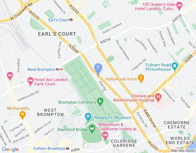 Location map for Finborough Theatre