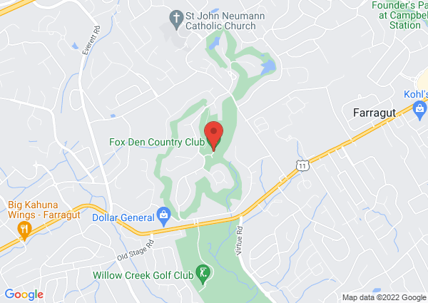 Map of Fox Den Country Club, North Fox Den Drive, Knoxville, TN, USA