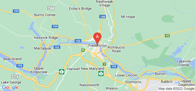 map of Fredericton, Canada