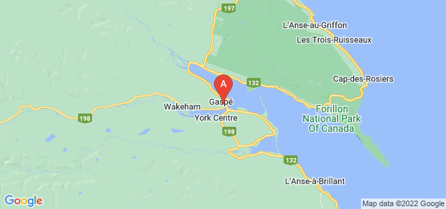 map of Gaspé, Canada