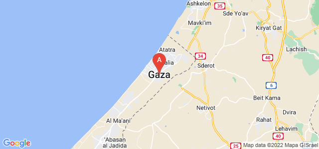map of Gaza City, Palestinian territories