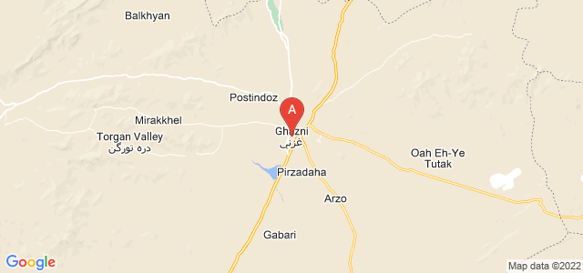 map of Ghazni, Afghanistan