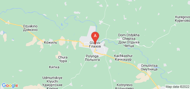 map of Glazov, Russia