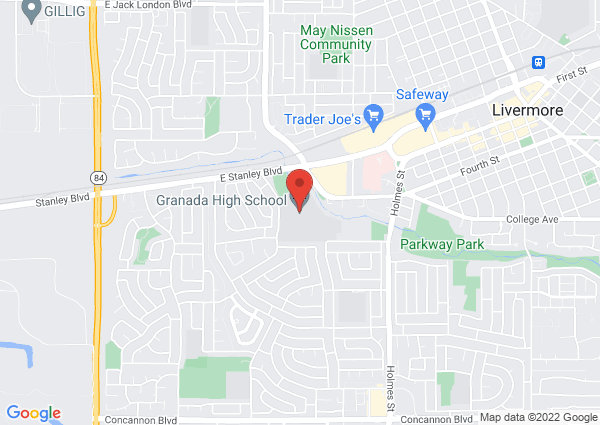 Map of Granada High School, Wall Street, Livermore, CA, United States